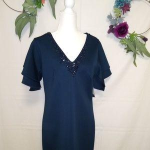 Dark Blue Ruffled Short Sleeve Dress, Adorned Neck